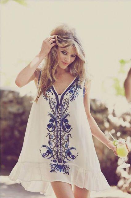 vestido hippie brnco