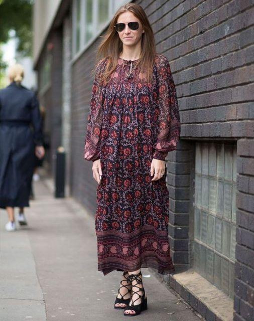 vestido hippie estampado