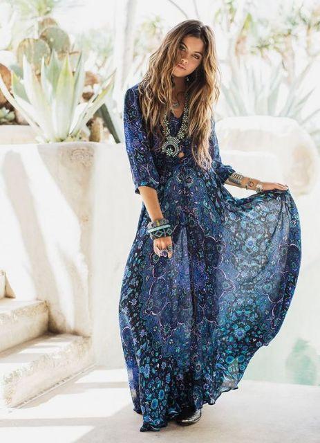 vestido hippie longo azul