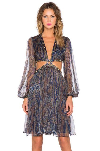 vestido hippie recortes