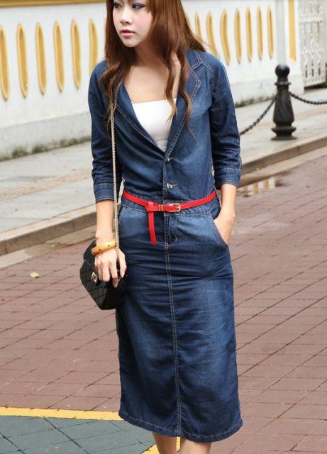 vestido jeans longo com abertura na frente