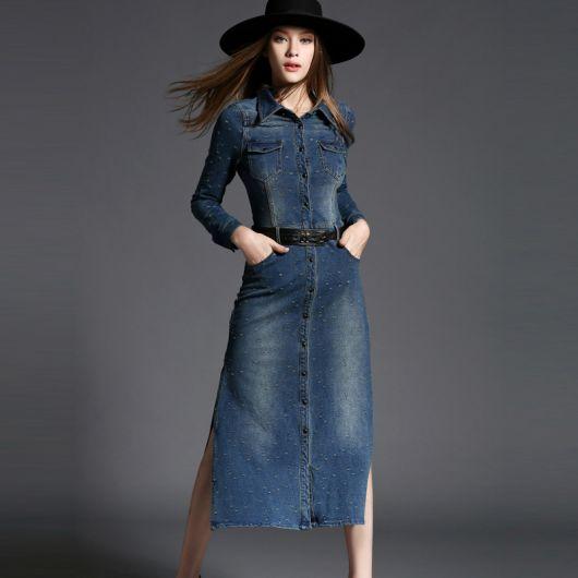 vestido jeans longo na moda
