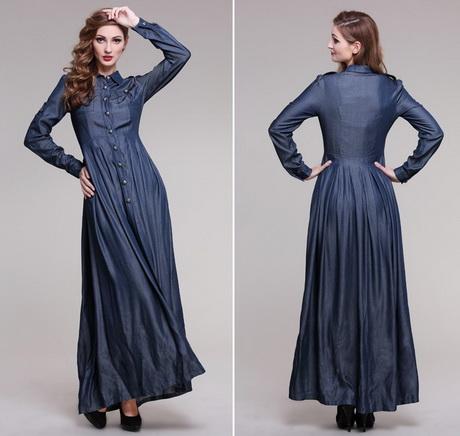 vestido jeans longo com saia drapeada