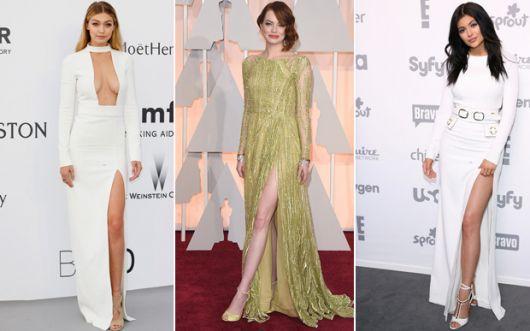 vestido longo com fenda famosas