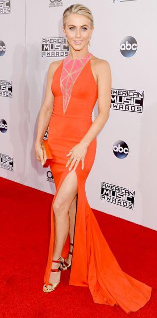 vestido longo com fenda laranja