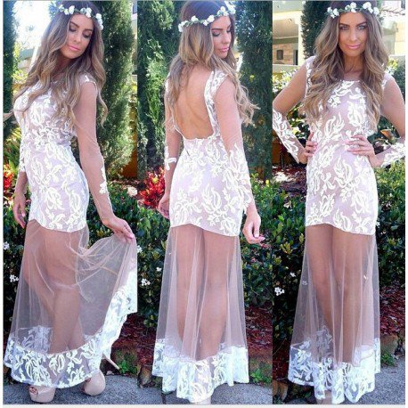 vestido longo com tule branco