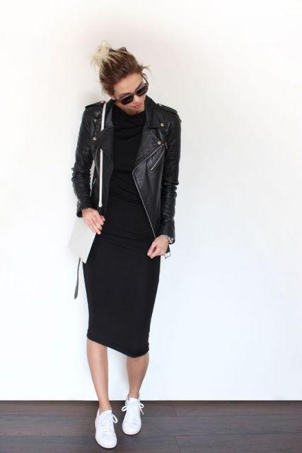 vestido midi jaqueta de couro