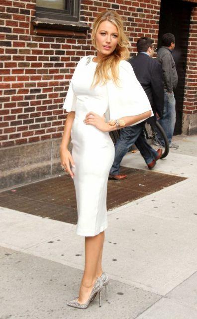 vestido midi justo branco