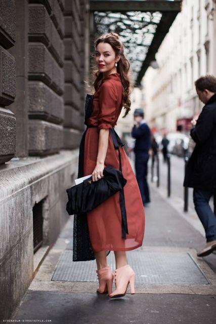 vestido midi look chic