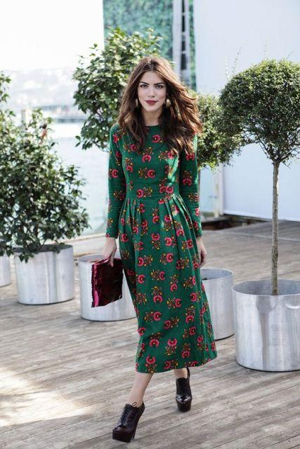 vestido midi look verde