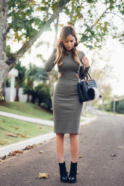 vestido midi outono