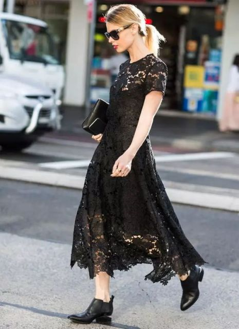 vestido midi rendado preto