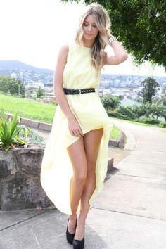 vestido mullet amarelo liso