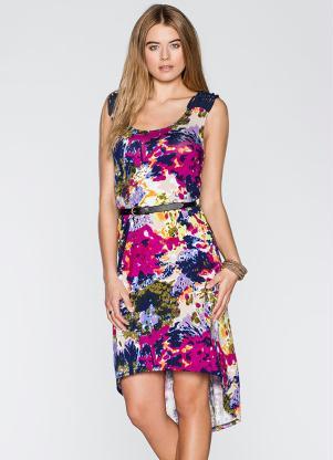 vestido mullet com estampa de flores