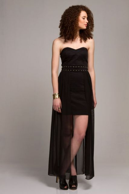 vestido mullet preto tomara que caia tubinho