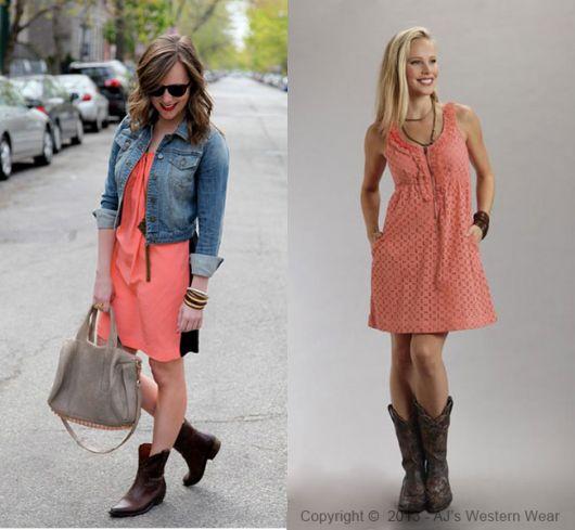 bota country feminina modelos com vestidos