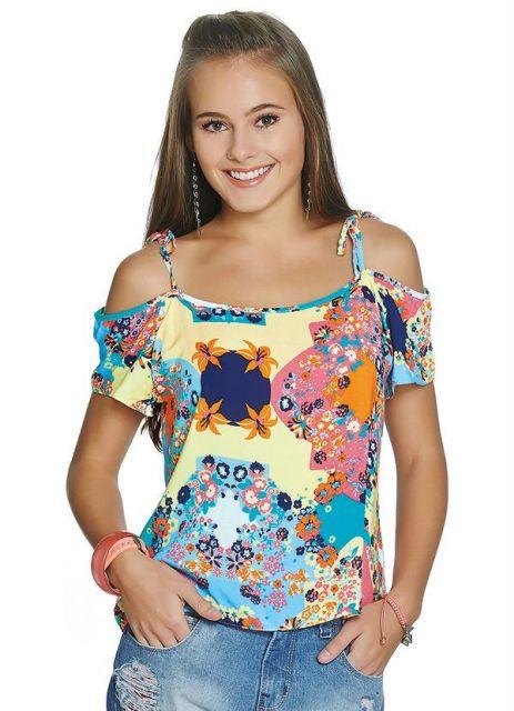 blusa ombro vazado estampada ciganinha