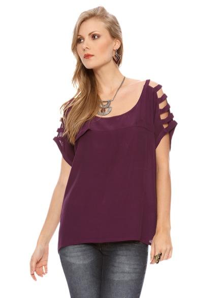 blusa ombro vazado folgada