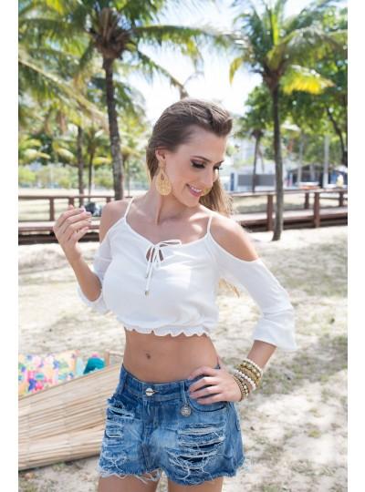 blusa ombro vazado cropped branca