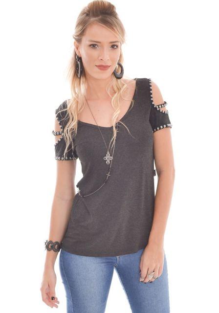 blusa ombro vazado básica