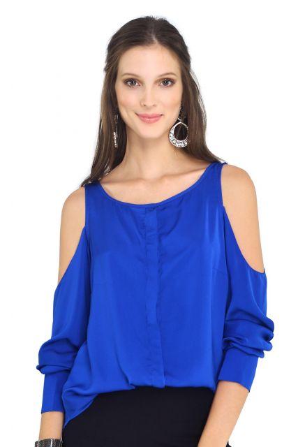 blusa ombro vazado soltinha azul