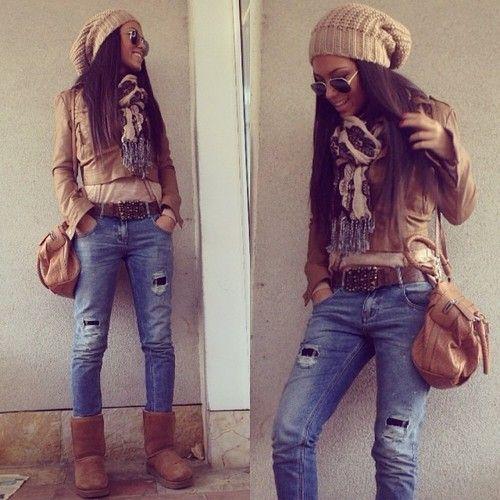 bota ugg com jeans