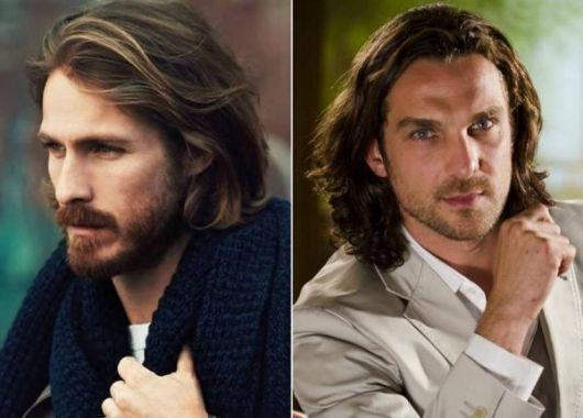 cabelo ondulado masculino penteado longo