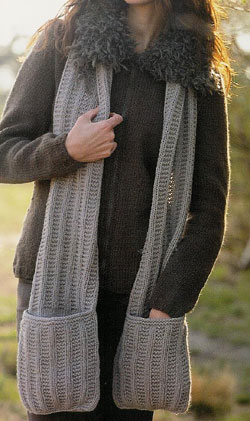 cachecol de tricô bolso