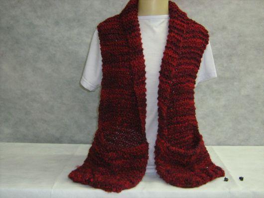 cachecol de tricô com bolso