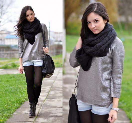 cachecol de tricô como usar look