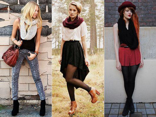 cachecol de tricô exemplos de looks