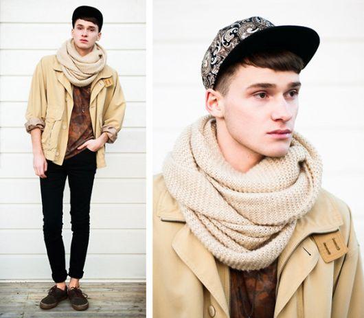 cachecol de tricô look alternativo masculino
