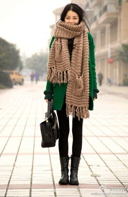 cachecol de tricô modelo grande
