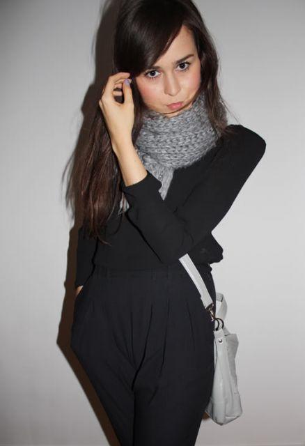 cachecol de tricô total black