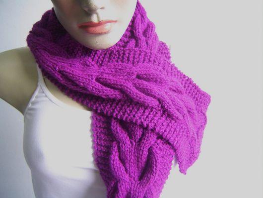 cachecol de tricô trança