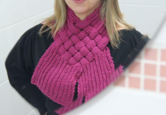 cachecol de tricô trançado como fazer
