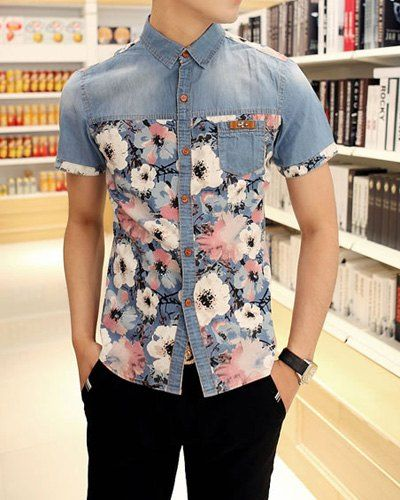 camisa jeans floral colorida