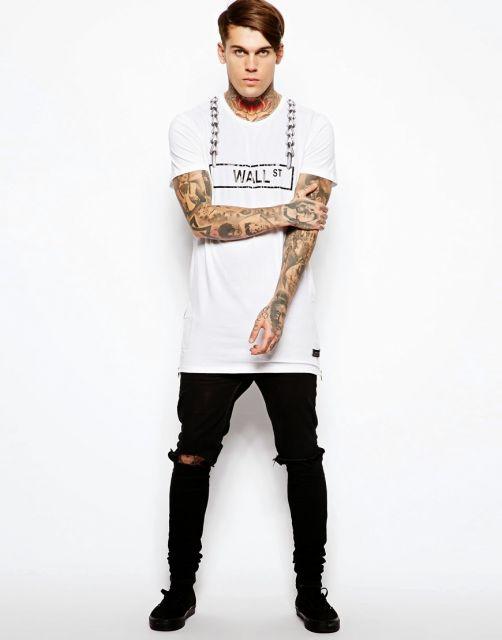 camiseta longline alongada
