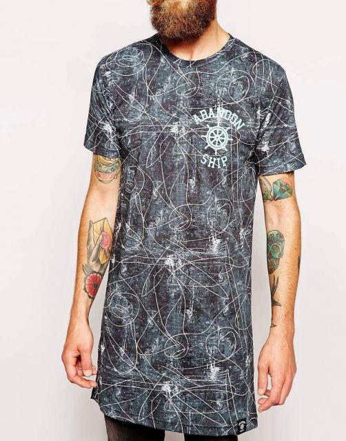 camiseta longline estampa