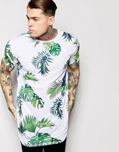 camiseta longline modelo estampado