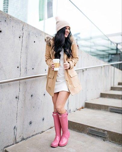 look de inverno com casaco cáqui