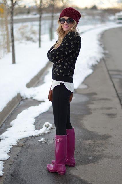 look inverno com bota rosa