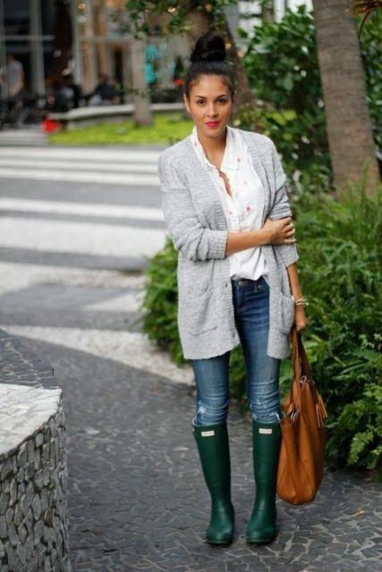 look com casaco de lã cinza