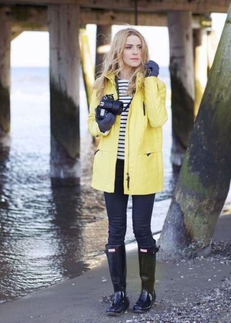 look com casaco amarelo