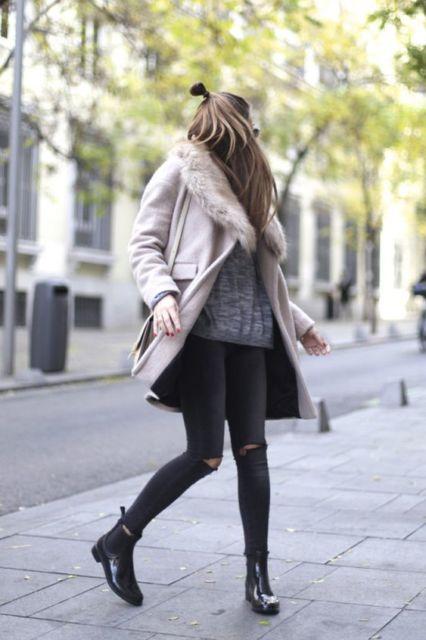 calça skinny e bota cano curto