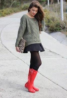 galocha feminina com casaco de tricô
