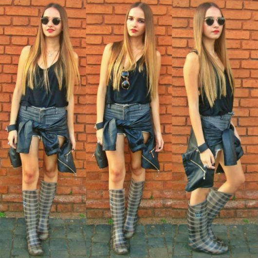 galocha feminina com short jeans