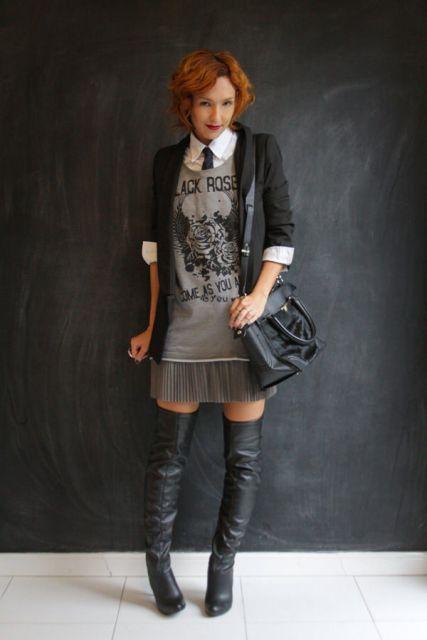gravata feminina vestido look