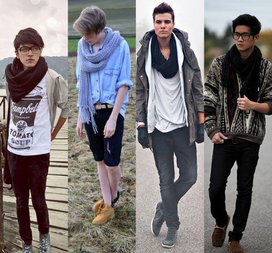 homens looks cachecol de tricô