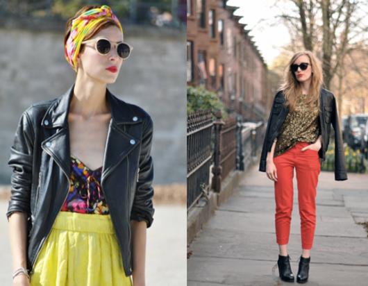 jaqueta de couro com cores vibrantes